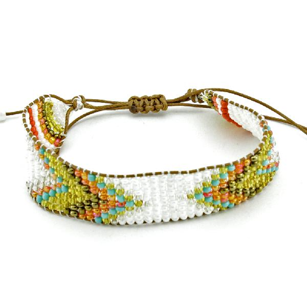 710445-WHITE - WHOLESALE ADJUSTABLE BEAD AZTEC INDIAN LOOK BRACELET