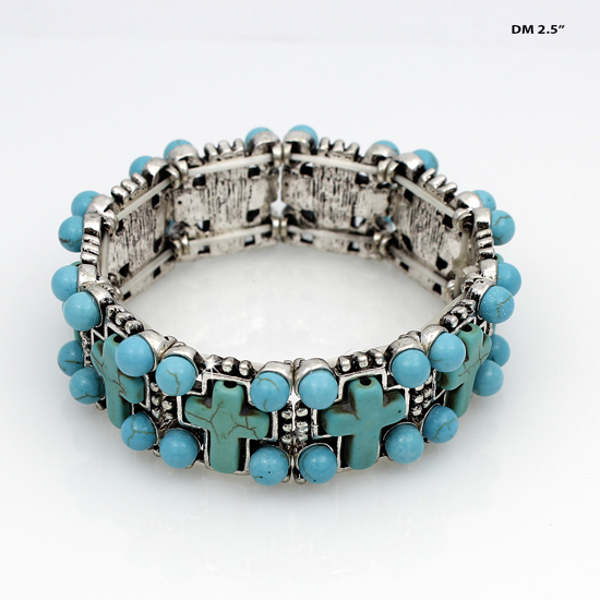 710002-TURQ - WHOLESALE WESTERN TURQUOISE STRETCH BRACELETS