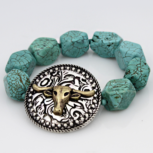 710119-TURQ - WHOLESALE WESTERN TURQUOISE STRETCH BRACELETS