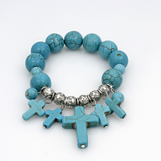 710141-TURQ - WHOLESALE WESTERN TURQUOISE STRETCH BRACELETS