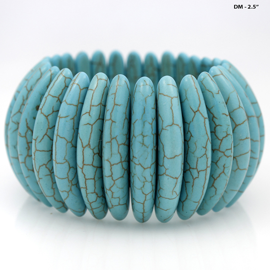 GENUINE STONE TURQ STRETCH BRACELETS - WHOLESALE WESTERN TURQUOISE STRETCH BRACELETS