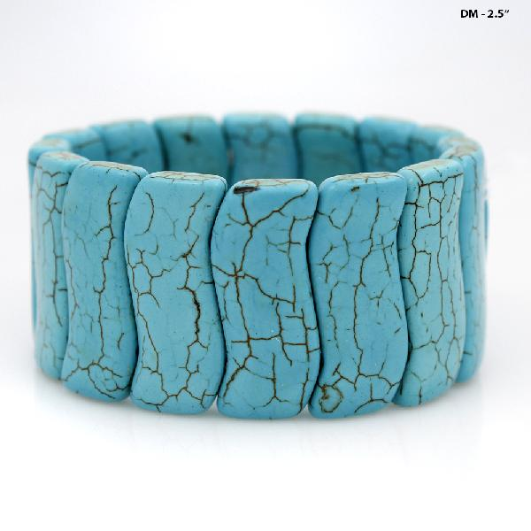 710161-TURQ - WHOLESALE WESTERN TURQUOISE STRETCH BRACELETS