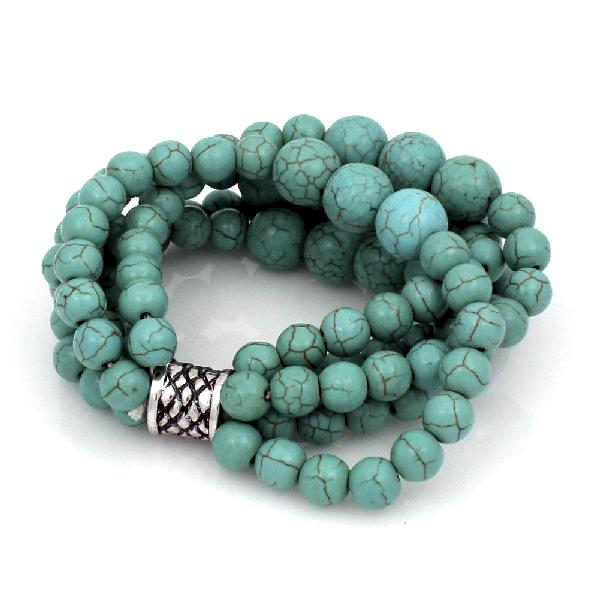 TURQUOISE STONE STRETCH BRACELETS - WHOLESALE WESTERN TURQUOISE CROSS STRETCH BRACELETS