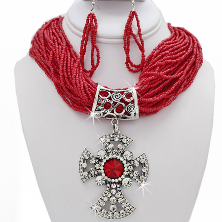 NKL-730035-RED - WHOLESALE WESTERN TURQUOISE JEWELRY