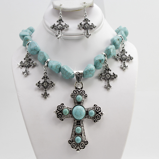 73042-(2PC-SET) - WHOLESALE WESTERN TURQ STONE NECKLACE SET