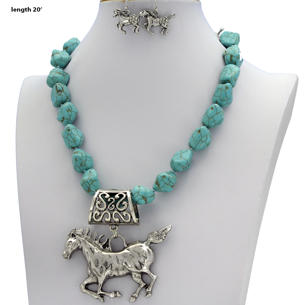 73043-(2PC-SET) - WHOLESALE WESTERN TURQ STONE NECKLACE SET