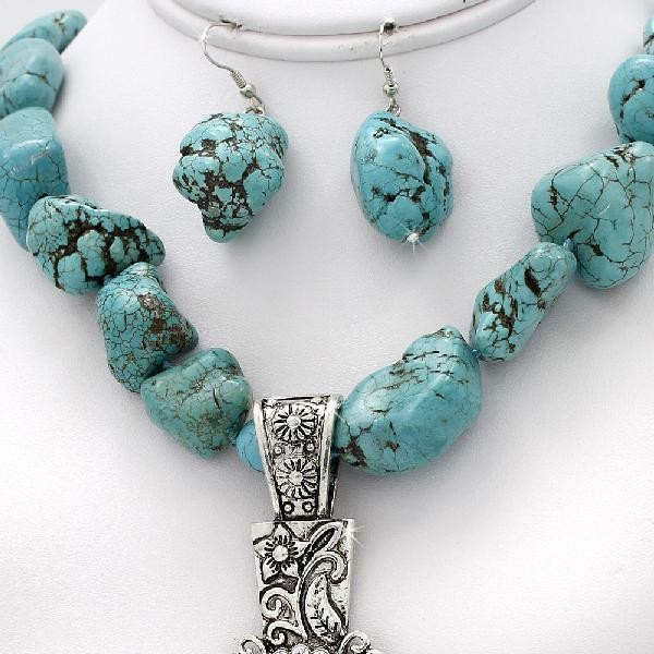 73045-(2PC-SET) - WHOLESALE WESTERN TURQ STONE NECKLACE SET