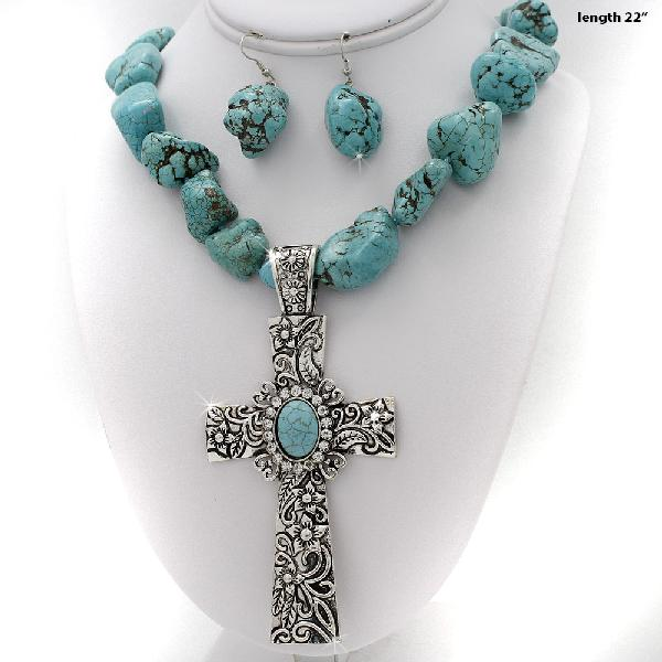 730045-(2PC-SET) - WHOLESALE WESTERN TURQ STONE NECKLACE SET