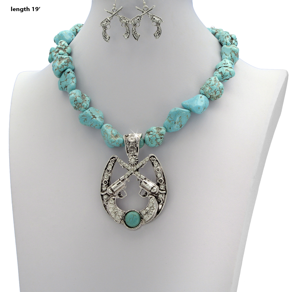 73047-(2PC-SET) - WHOLESALE WESTERN TURQ STONE NECKLACE SET