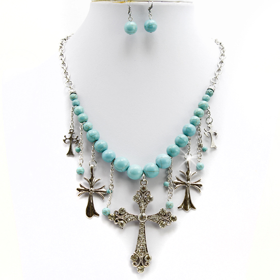 75054-(2PC-SET) - WHOLESALE WESTERN TURQ STONE NECKLACE SET