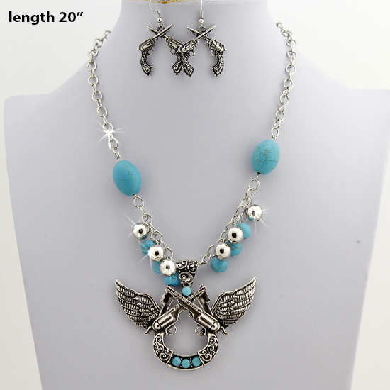 73071-(2PC-SET) - WHOLESALE WESTERN TURQ STONE NECKLACE SET