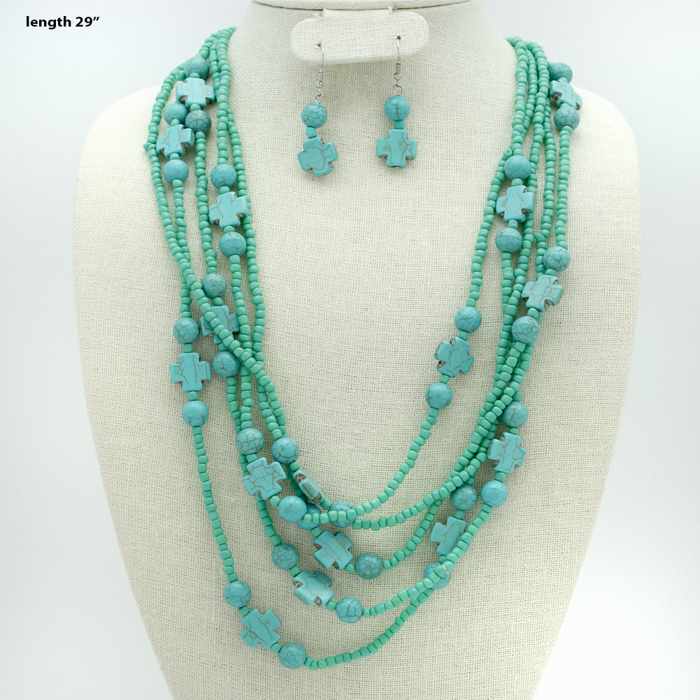 730139-(2PC-SET) - WHOLESALE WESTERN TURQ STONE NECKLACE SET
