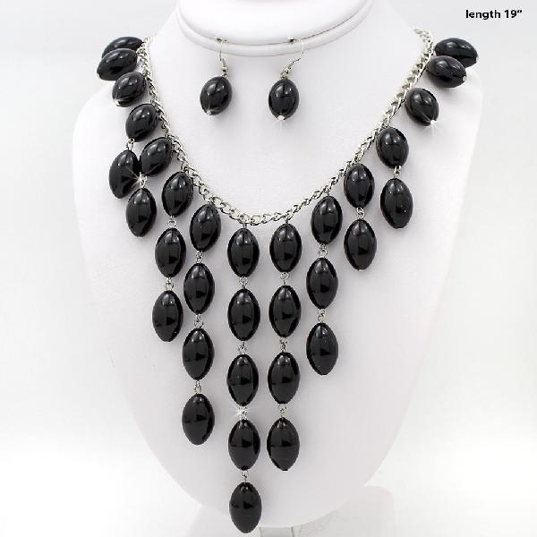730207-BLACK - WHOLESALE WESTERN TURQ STONE NECKLACE SET