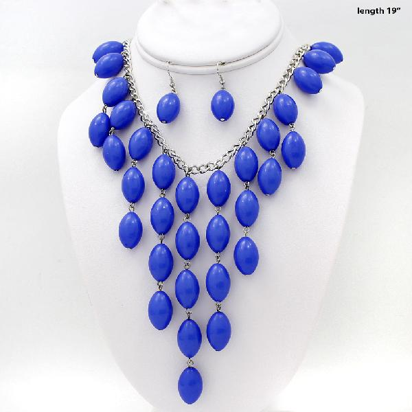 730207-ROYAL-BLU - WHOLESALE WESTERN TURQ STONE NECKLACE SET