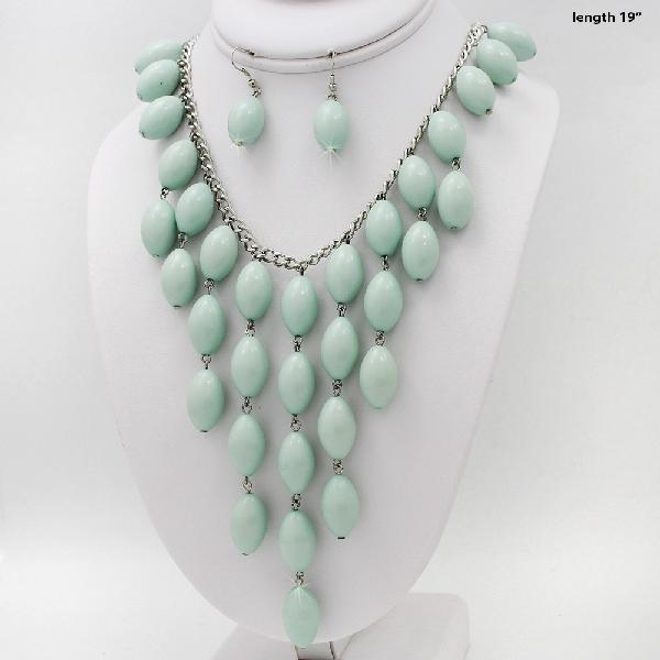 730207-MINT - WHOLESALE WESTERN TURQ STONE NECKLACE SET
