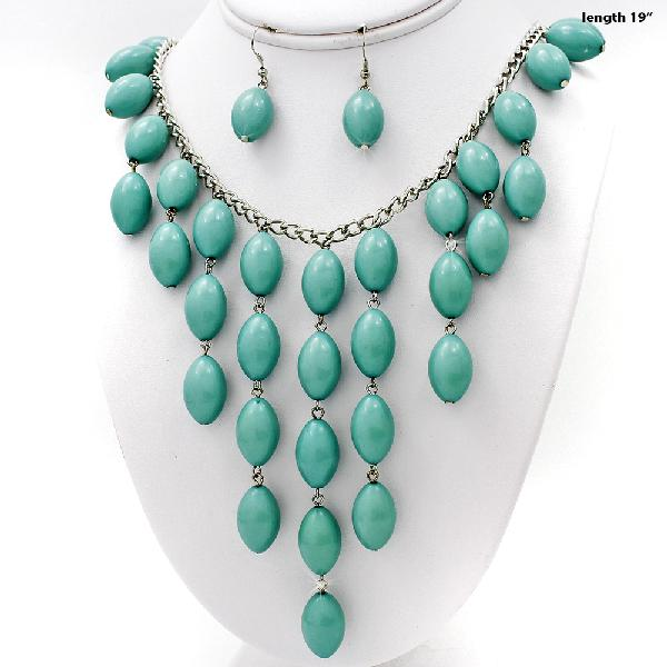 730207-TURQ - WHOLESALE WESTERN TURQ STONE NECKLACE SET
