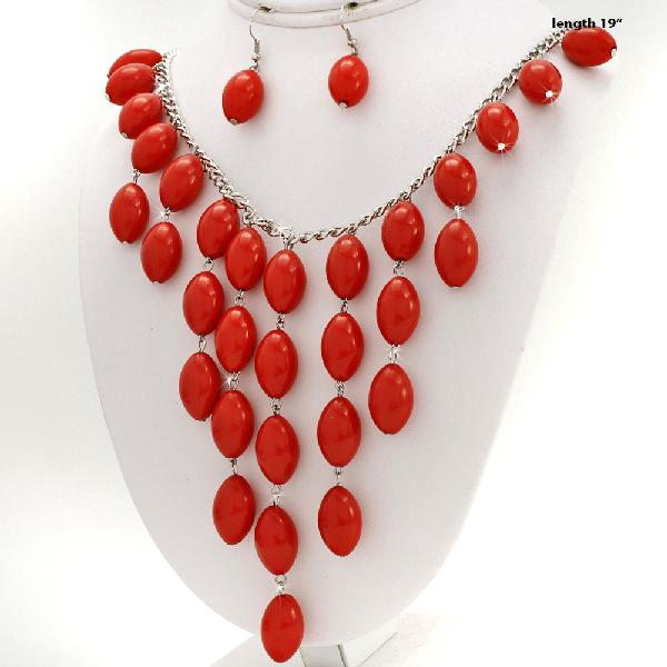 730207-RED - WHOLESALE WESTERN TURQ STONE NECKLACE SET