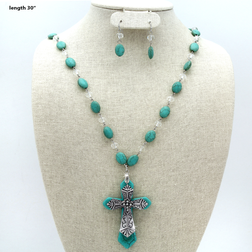 730213-(2PC-SET) - WHOLESALE WESTERN TURQ STONE NECKLACE SET