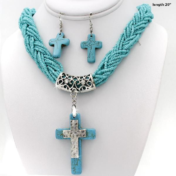 7300215-(2PC-SET) - WHOLESALE WESTERN TURQ STONE NECKLACE SET