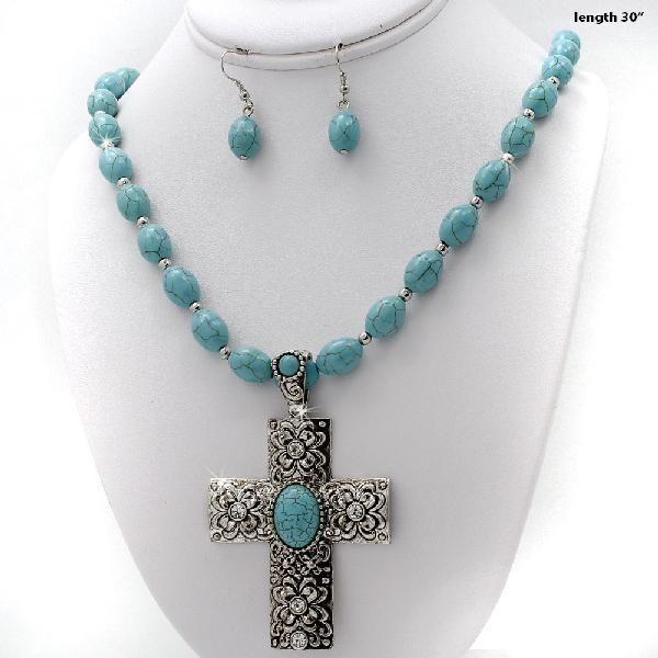 7300128-(2PC-SET) - WHOLESALE WESTERN TURQ STONE NECKLACE SET