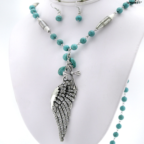 730241-2PC-TURQ - WHOLESALE TURQ ANGEL WINGS CROSS NECKLACE