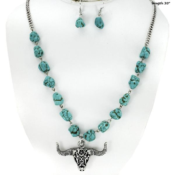 WESTERN TURQ NECLACE SET - WHOLESALE WESTERN TURQ STONE NECKLACE SET