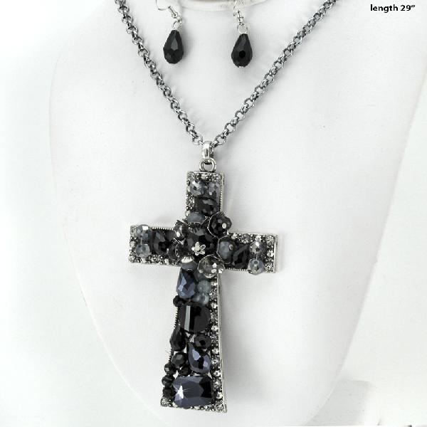 WESTERN CRYSTAL NECLACE SET - WHOLESALE CROSS CRYSTAL STONE NECKLACE SET
