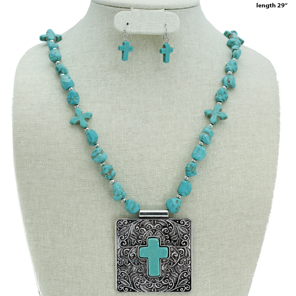 Turquoise Cross Necklace Set - 730644-2PC-Turq WHOLESALE GENUINE TURQ STONE NECKLACE