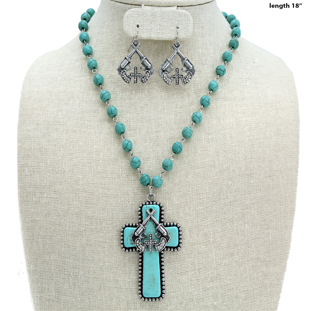 Turquoise Cross Necklace Set - 730645-2PC-Turq WHOLESALE GENUINE TURQ STONE NECKLACE