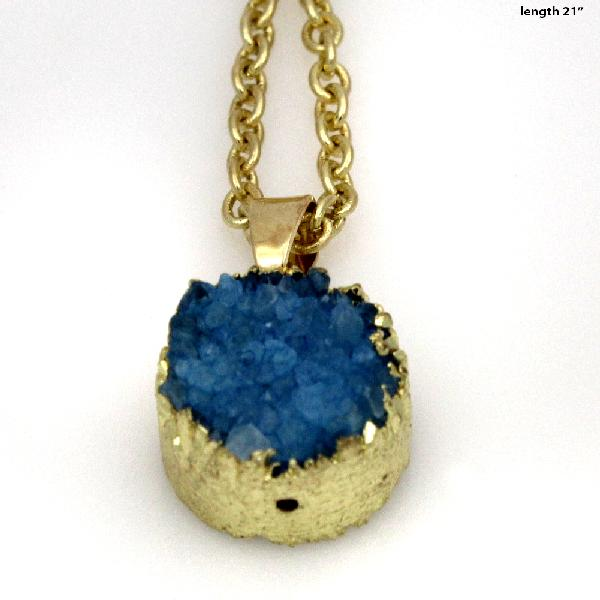 DRUZY-672-BLUE - WHOLESALE GENUINE QUARTZ STONE DRUZY NECKLACE
