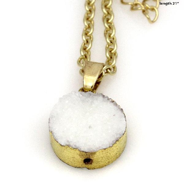 DRUZY-672-WHITE - WHOLESALE GENUINE QUARTZ STONE DRUZY NECKLACE