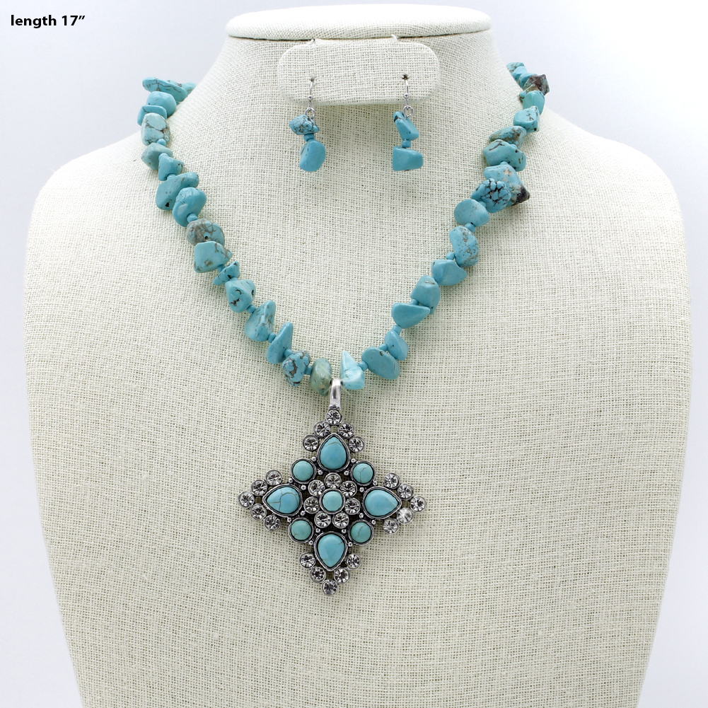 Turquoise Cross Necklace Set - .730679-2PC-Turq WHOLESALE GENUINE TURQ STONE NECKLACE