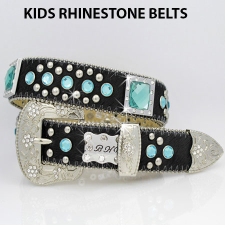HIDE-746-BK/BLUE - WHOLESALE WESTERN BELTS/BHW BRAND CHILDRENS WESTERN BELTS