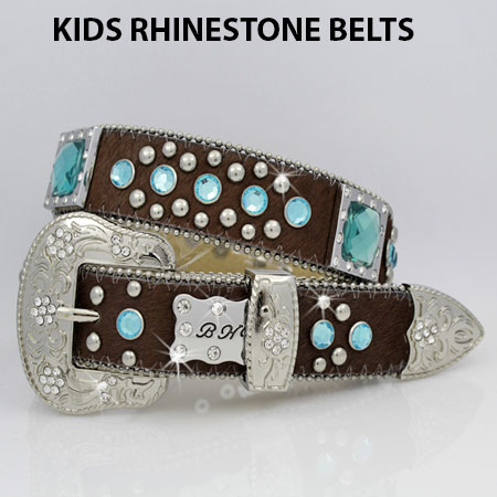 HIDE-746-BRN/BLUE - WHOLESALE WESTERN BELTS/BHW BRAND CHILDRENS WESTERN BELTS
