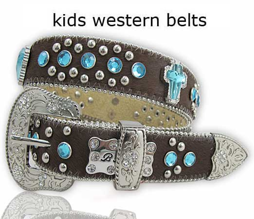 HIDE-750-BRN/BLUE - WHOLESALE WESTERN BELTS/BHW BRAND CHILDRENS WESTERN BELTS