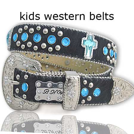 HIDE-750-BK/BLUE - WHOLESALE WESTERN BELTS/BHW BRAND CHILDRENS WESTERN BELTS
