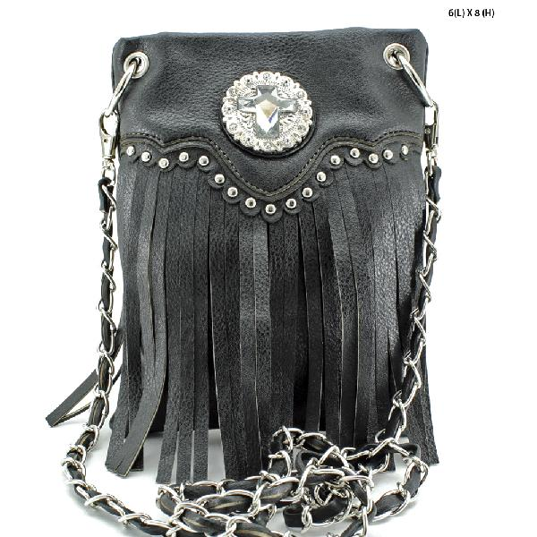 CROSS FRINGE HIPSTER PHONE BAGS - WHOLESALE RHINESTONE CRYSTAL CELLPHONE CASES/POUCHES