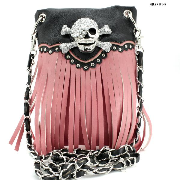 SKULL FRINGE HIPSTER PHONE PURSES - WHOLESALE RHINESTONE CRYSTAL CELLPHONE CASES/POUCHES