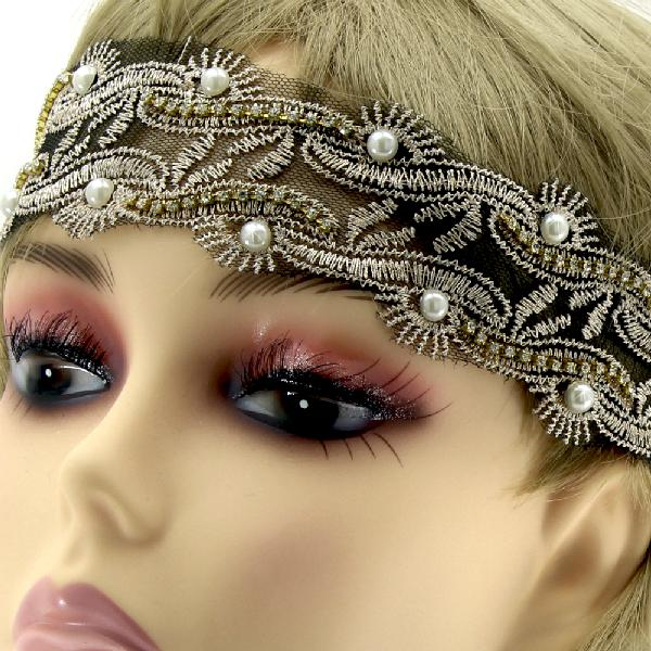 RHINESTONE STUD LACE HEADBANDS - WHOLESALE LACE STRETCH HEADBANDS