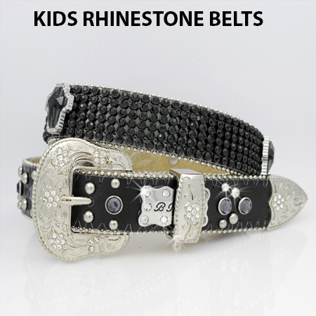 KIDS-810-BLK/BLK - WHOLESALE WESTERN BELTS/BHW BRAND CHILDRENS WESTERN BELTS