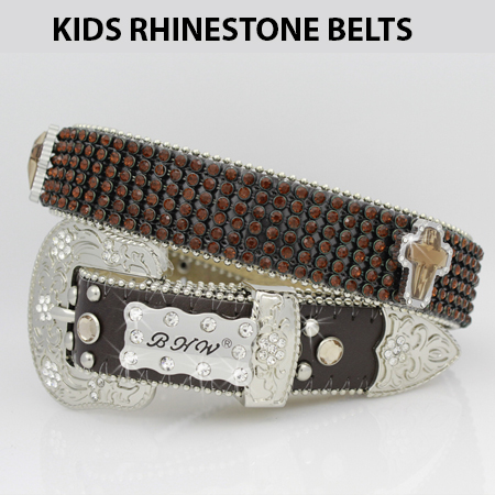 KIDS-810-BRN-BRN - WHOLESALE WESTERN BELTS/BHW BRAND CHILDRENS WESTERN BELTS