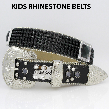 KIDS811-BLK-BLK - WHOLESALE WESTERN BELTS/BHW BRAND CHILDRENS WESTERN BELTS