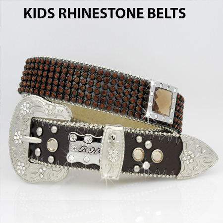 KIDS-811-BRN-BRN - WHOLESALE WESTERN BELTS/BHW BRAND CHILDRENS WESTERN BELTS