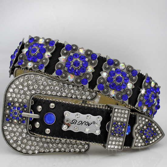886-BLACK-HIDE-NAVY - WHOLESALE WESTERN RHINESTONE CRYSTAL BHW BRAND BELTS