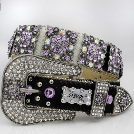 886-WTBRIN-PURPLE - WHOLESALE WESTERN RHINESTONE CRYSTAL BHW BRAND BELTS