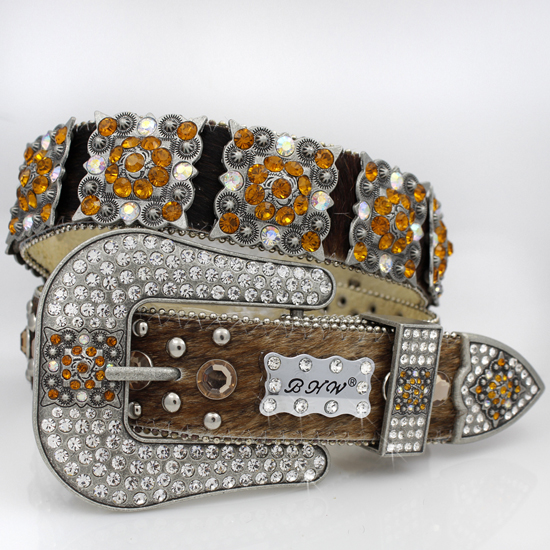 886-BRN-BRIN-BROWN - WHOLESALE WESTERN RHINESTONE CRYSTAL BHW BRAND BELTS