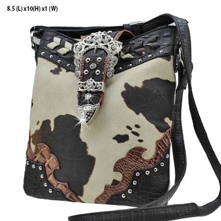 ACO3-4699-BLACK - WHOLESALE WESTERN COW PRINT CROSS BODY BAGS