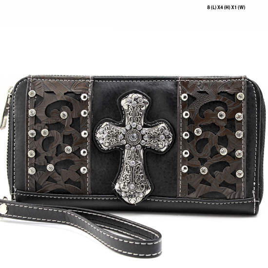 AK-245-BLACK - WHOLESALE WOMENS WESTERN BUCKLE WALLET