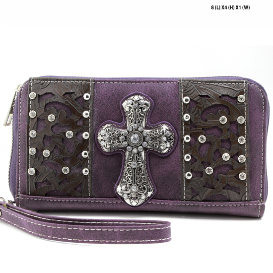 AK-245-PURPLE - WHOLESALE WOMENS WESTERN BUCKLE WALLET