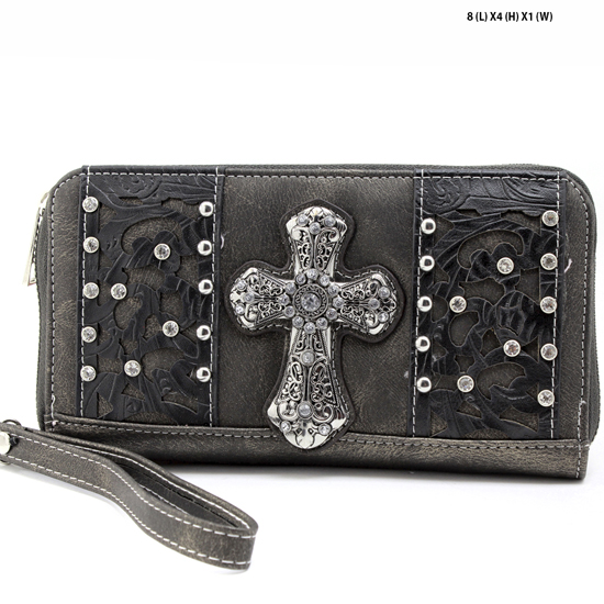 AK-245-PEWTER - WHOLESALE WOMENS WESTERN BUCKLE WALLET